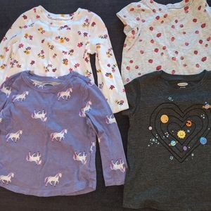 4 Baby Girl Old Navy T-shirts L/S S/S 18-24 mos